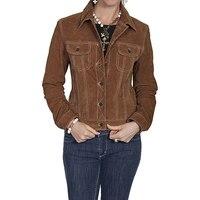 Скалли L107 125 L женские замшевые джинсовая куртка Cafe коричневый большой