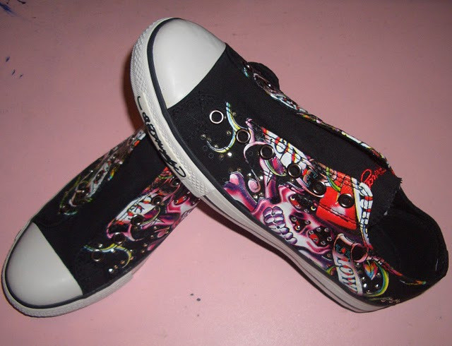 Hot-selling 2011 ed hardy Women canvas shoes ed hardy women's shoes with diamond