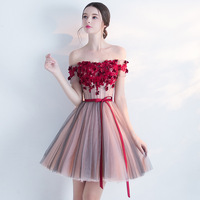 Fashion Red Dress Women Off Shoulder Short Sleeves Lace Mesh Ball Gown Backless Bandage Sexy Party Club Dress