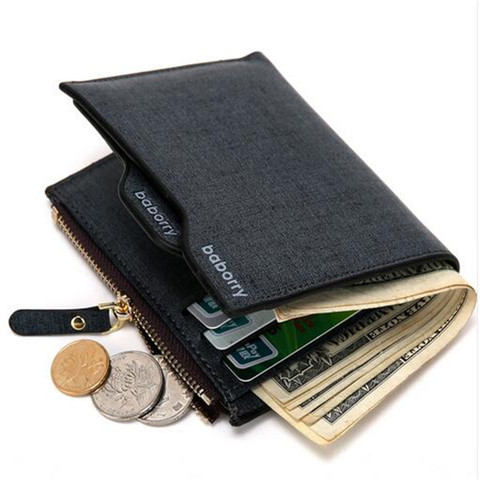 2019 Men Wallet High Quality PU Leather Card Holder Wallet Male Leather Coin Purse With Zipper Short Bifold Wallets for men NEW Lahore