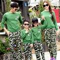 Mãe e filha roupas estabelecidos para a mãe e filha pai e filho camisas mesma roupa calças de algodão roupas família define