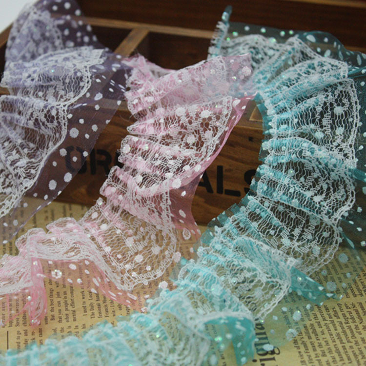 25yardslot 6cm Width Printed Ribbon Lace Fabric Ruffle Trim For Headband Girls Hair DollShoes