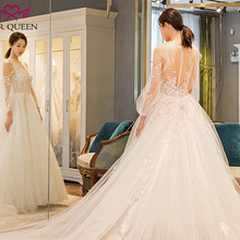 Long Train Romantic European A line Wedding Dress 2018 Lantern Sleeve Illusion Button Back Princess Style