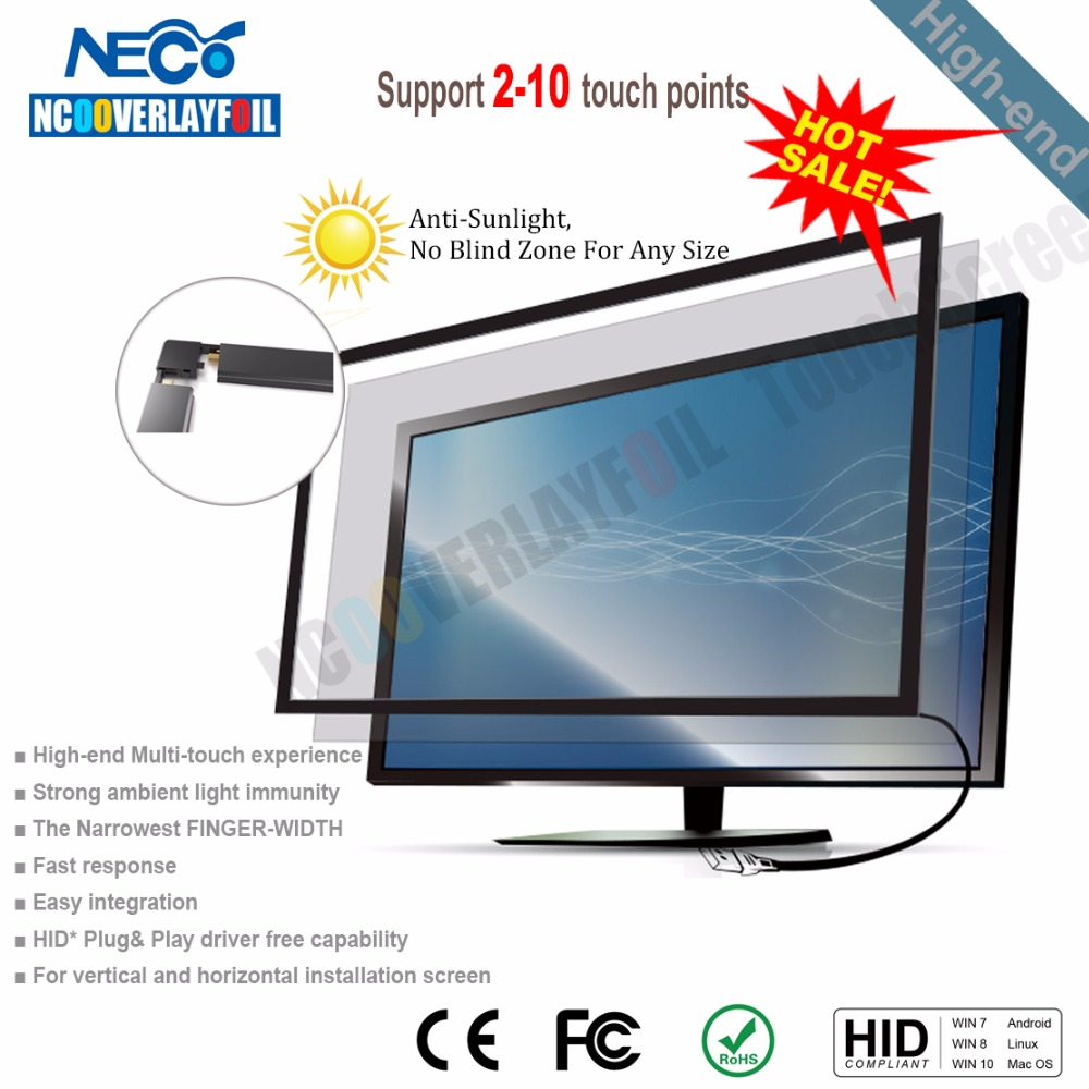 Free Shipping 52 inches Infrared Multi Touch Screen Frame With 10 Points 3-10ms Quick Response USB Connection For Touch Wall