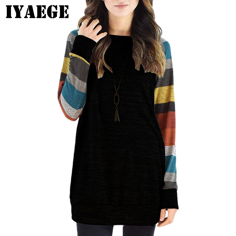 IYAEGE New Fashion Womens Tops And Blouses Casual Long Sleeve Striped Patchwork Tee Shirt Loose Baseball Shirt Tunic Tops Blusas(China)