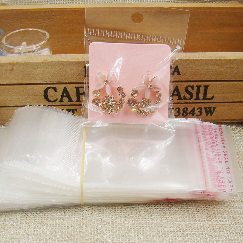 4*4cm Diy Pink Small Cute Earring Display Card Stud Jewelry Earring Packing Card 100pcs +100 Plastic Bag For Jewelry Packing