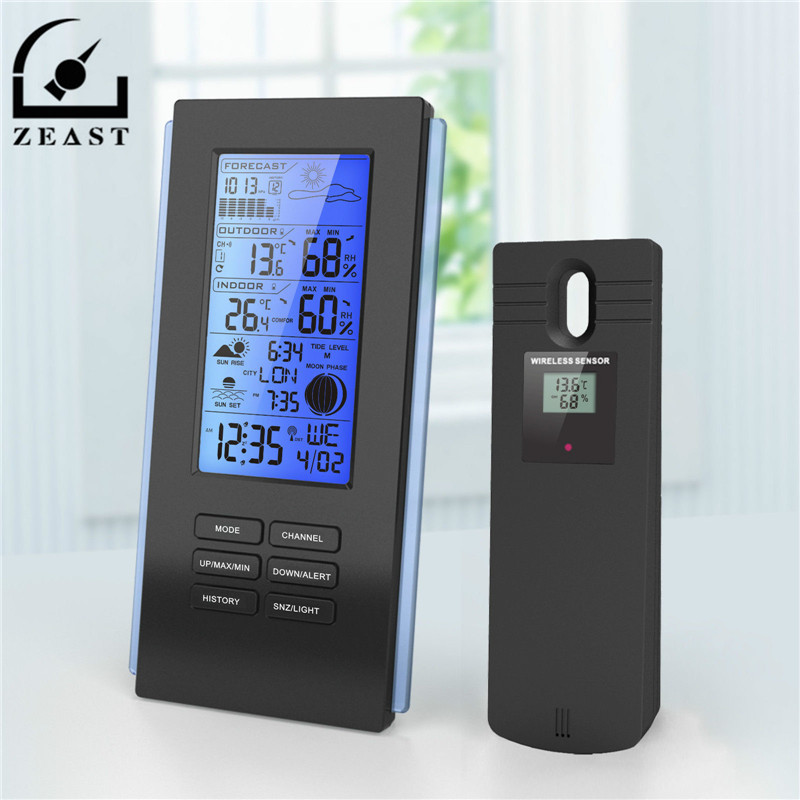 ZEAST TS-72 Wireless Thermometer Hygrometer Wetter Station Barometer Prognose Thermometer USB Outdoor Sensor Uhr