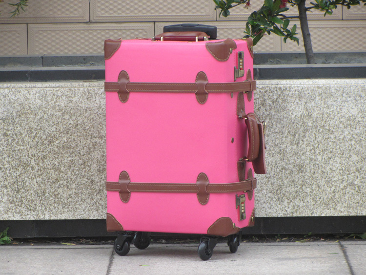 Customized!Retro Genuine Leather Trolley Luggage Bag,17