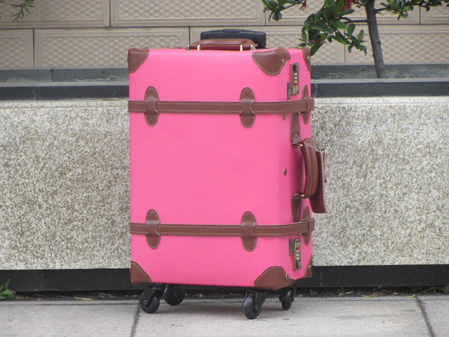 "Customized!Vintage genuine leather trolley luggage bag,17"" 19"" 21"" 23"" 27"" 29"" male female universal wheels luggage suitcase bag"
