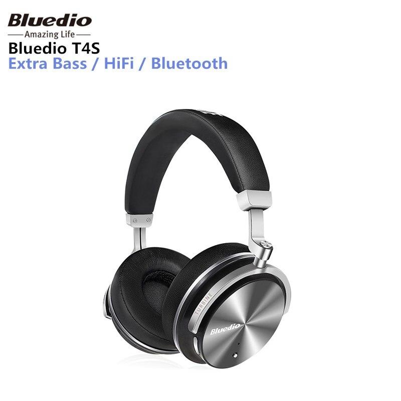 Bluedio T4S cuffia Active Noise Cancelling cuffie Bluetooth Senza Fili ANC Edition auricolare Suono 3D intorno all'orecchio