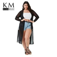 Kissmilk Plus Size Women Large H-Design Long Sleeve Sexy Side Slit Duster Cardigan