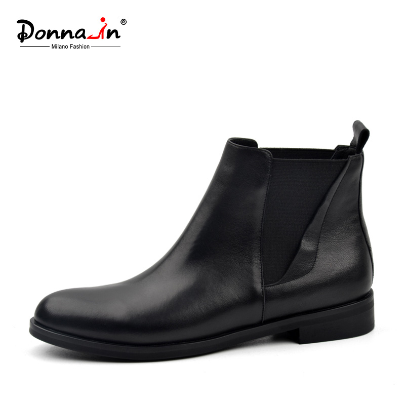 ed001dbc3ca7 Donna-in Chelsea Boots Women Genuine Leather Round Toe Classic Ankle  Booties Flat Heel 2019 Autumn Winter Designer Ladies Shoes