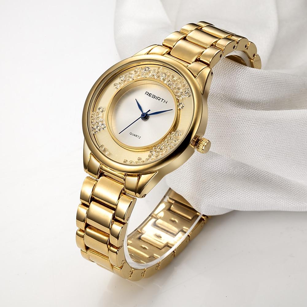 все цены на REBIRTH Women's Watches Top Brand Bracelet Ladies Wrist Watch 2018 Rose Gold Relogio Feminino Clock bayan kol saati онлайн
