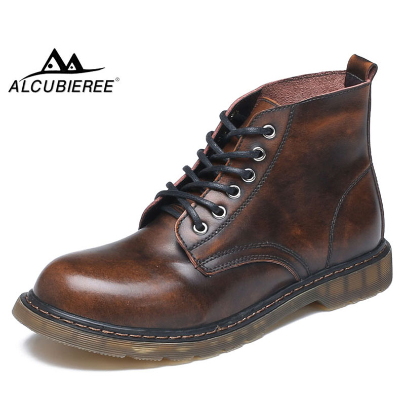 ALCUBIEREE Brand Men Fashion Chukka Boots Casual Leather Ankle Boot Retro Lace-up Martin Boot Non-slip Work Shoes Big Size 46 keen men s briggs mid wp chukka boot