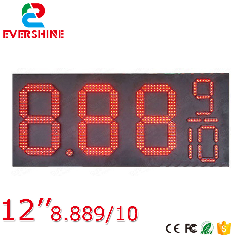 8889/10 Front Access Red Color 12 inch Outdoor high brightness waterproof 7 segment digital number led Gas/Oil Price sign board