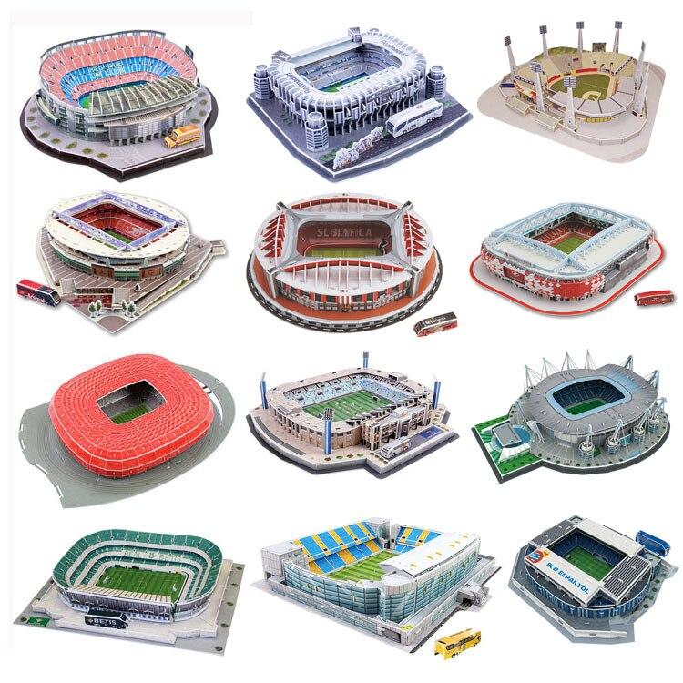 >Classic Jigsaw <font><b>DIY</b></font> 3D Puzzle World Football Stadium European Soccer Playground Assembled Building <font><b>Model</b></font> Puzzle <font><b>Toys</b></font> for Children