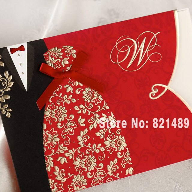 Invitation With Red Affordable Black White And Polka Dots Stripes Wedding Invite