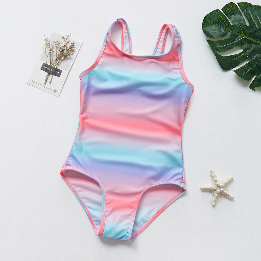 2019 Girls Rainbow Swimsuit 3-7 Years One-Piece Bathing Suit Kids Girls Summer Beachwear Colorful Swimsuits for Girl 9003(China)