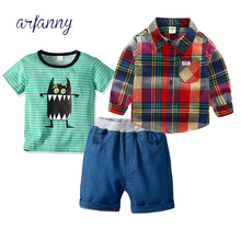 Baby Boys Summer Clothing 3 Pcs Set (T-shirt+Long Sleeve Plaid Shirt + jeans shorts Pants) 1 to 6T Childrens Clothes