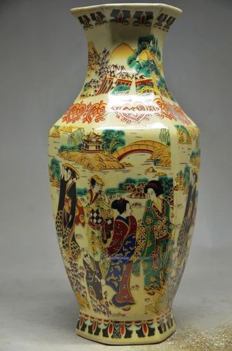Crafts statue Chinese famille rose porcelain hand painting beautiful vase halloween