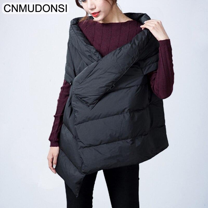 CNMUDONSI Winter Down jacket Vest Female Sleeveless Waistcoat Women Vests New Sleeveless Jackets Coat Black Fashionable Shawl