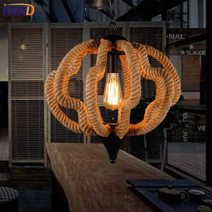 IWHD Loft Industrial Hemp rope Pendant Lights Iron Vintage Lamp Retro Living room Pendant Light Fixtures Home Lighting Hanglamp iwhd loft retro led pendant lights industrial vintage iron hanging lamp stair bar light fixture home lighting hanglamp lustre