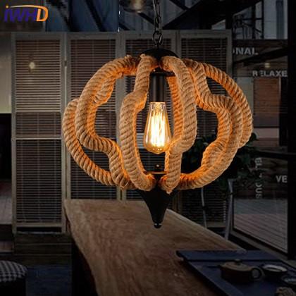 IWHD Loft Hanfseil Pendelleuchten Eisen Lampe Retro Wohnzimmer Anhnger Leuchten Hause Beleuchtung HanglampChina