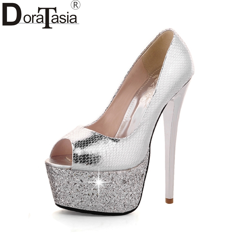 DoraTasia  Brand Design Peep Toe Platform Summer Pumps Shoes Woman Sexy Super High Heels Slip On Nightclub Party Shoes Women apoepo brand 2017 zapatos mujer black and red shoes women peep toe pumps sexy high heels shoes women s platform pumps size 43