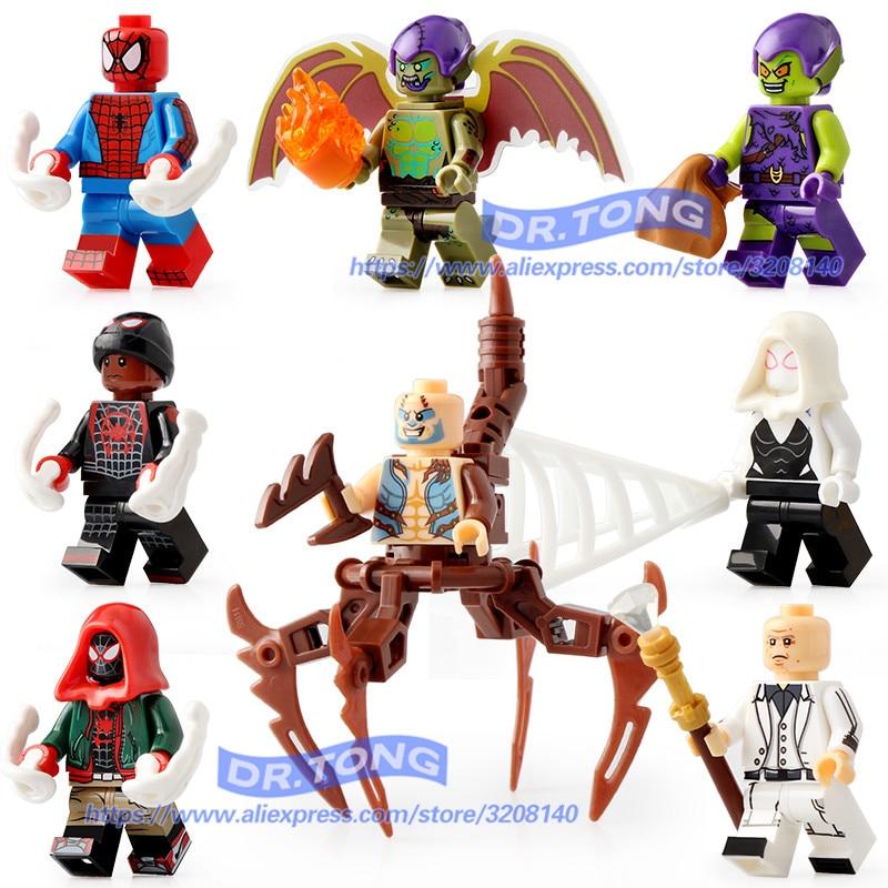 80 pièces Legoings Spider-man Super Héros Deadpool Venin Zombie Noir Homme Araignée Avengers Blocs De Construction Jouets pour Enfants X0241