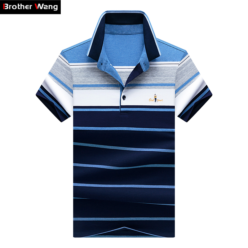 Brother Wang 2019 New Summer Men's Striped Short-sleeved   POLO   Shirt Fashion Business Casual Brand   Polo   Shirt Blouse Tops Male