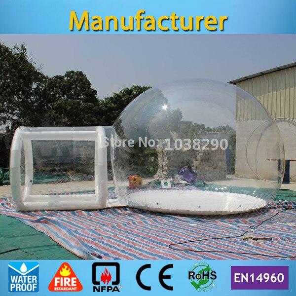 Livraison gratuite scellé cadre de porte gonflable clair bulle tente avec ventilateur CE/UL gratuit et sac de transport