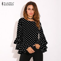ZANZEA 2017 Womens Flouncing Ruffled Long Sleeves Summer Autumn Polka Dot Butterfly Sleeve Loose Casual Tops