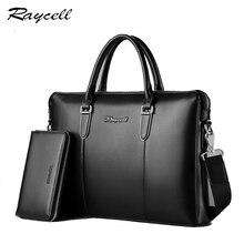 Genuine Leather Briefcase Men Crossbody Bags Porta Celular Business Leather Laptop Bag Men Messenger Casual Tote Shoulder Bags