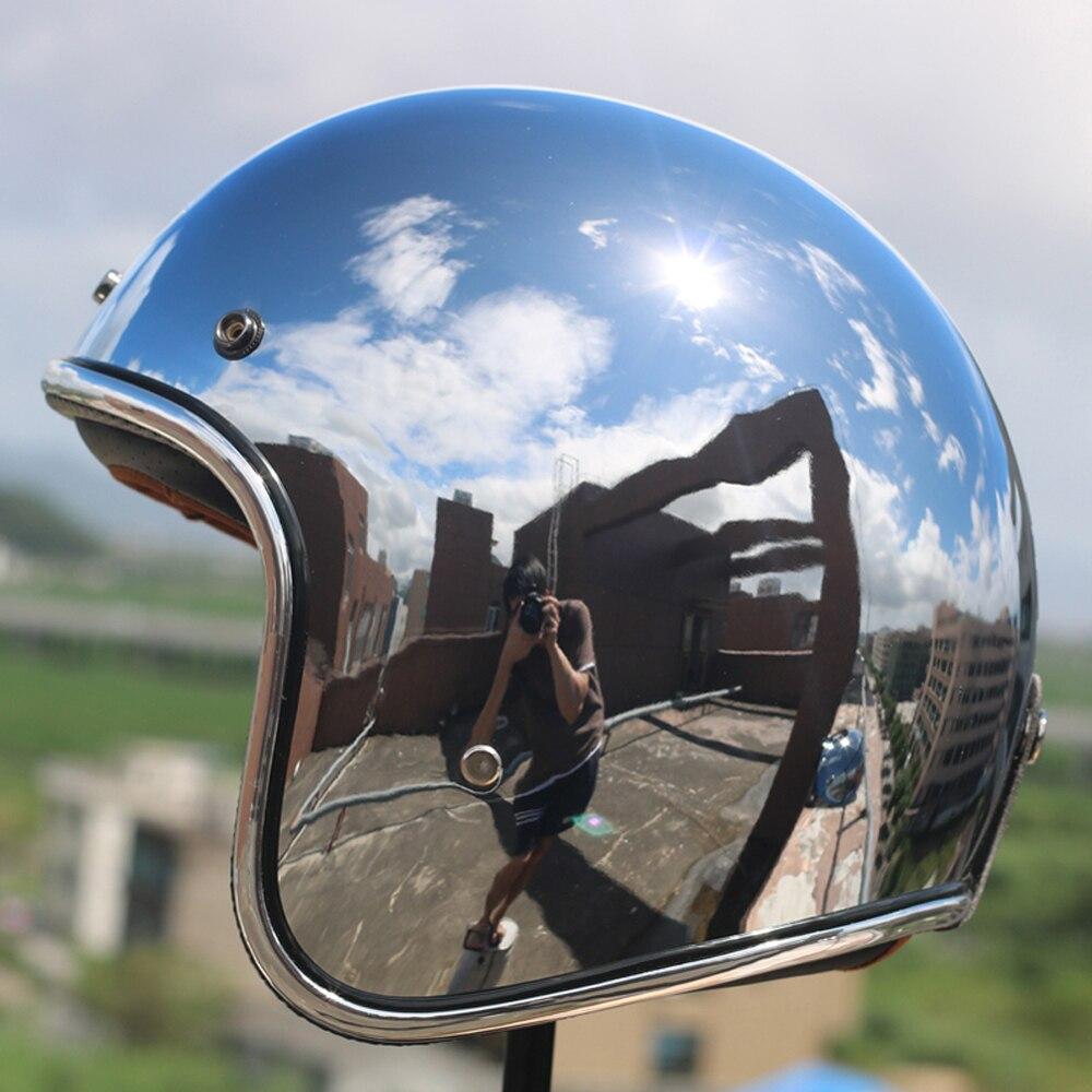 LDMET vintage moto rcycle helm jet capacetes de moto ciclista harley sliver chrome vespa cascos para moto cafe racer spiegel