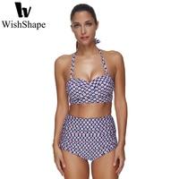 Sexy Bikini Set Women Halter Bikinis Bathing Suit Push Up Swimwear High Waist Swimsuit Floral Print