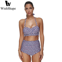 Sexy Bikini Set Women Halter Bikinis Bathing Suit Push Up Swimwear High Waist Swimsuit Floral Print