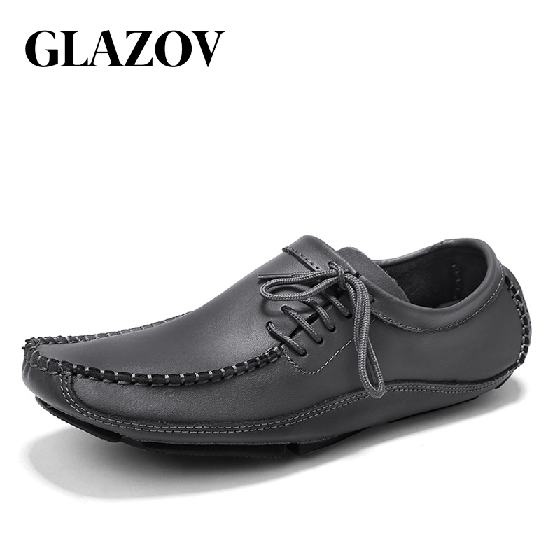 Brand Men Moccasins Men Shoes Slip On Spring Summer Men Loafers Top Quality Genuine   Leather   Man Casual Footwear Large Size 38-47