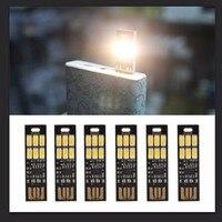 6 led luzes da noite ajustar o brilho dedo toque lâmpada dimmer mini cartão de bolso usb energia para banco potência computador portátil