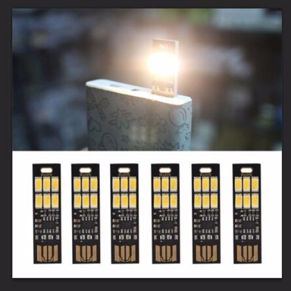Portable Small 6 LEDs Night Lights Finger Touch Lamp Dimmer Camping Mini Adjust Brightness USB Power Computer Laptop