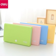 Deli 1pc Document Bag 13Interlayer Plastic Candy Color File Folder Expanding Wallet Bill Folder Financial Notes Receipt Folder