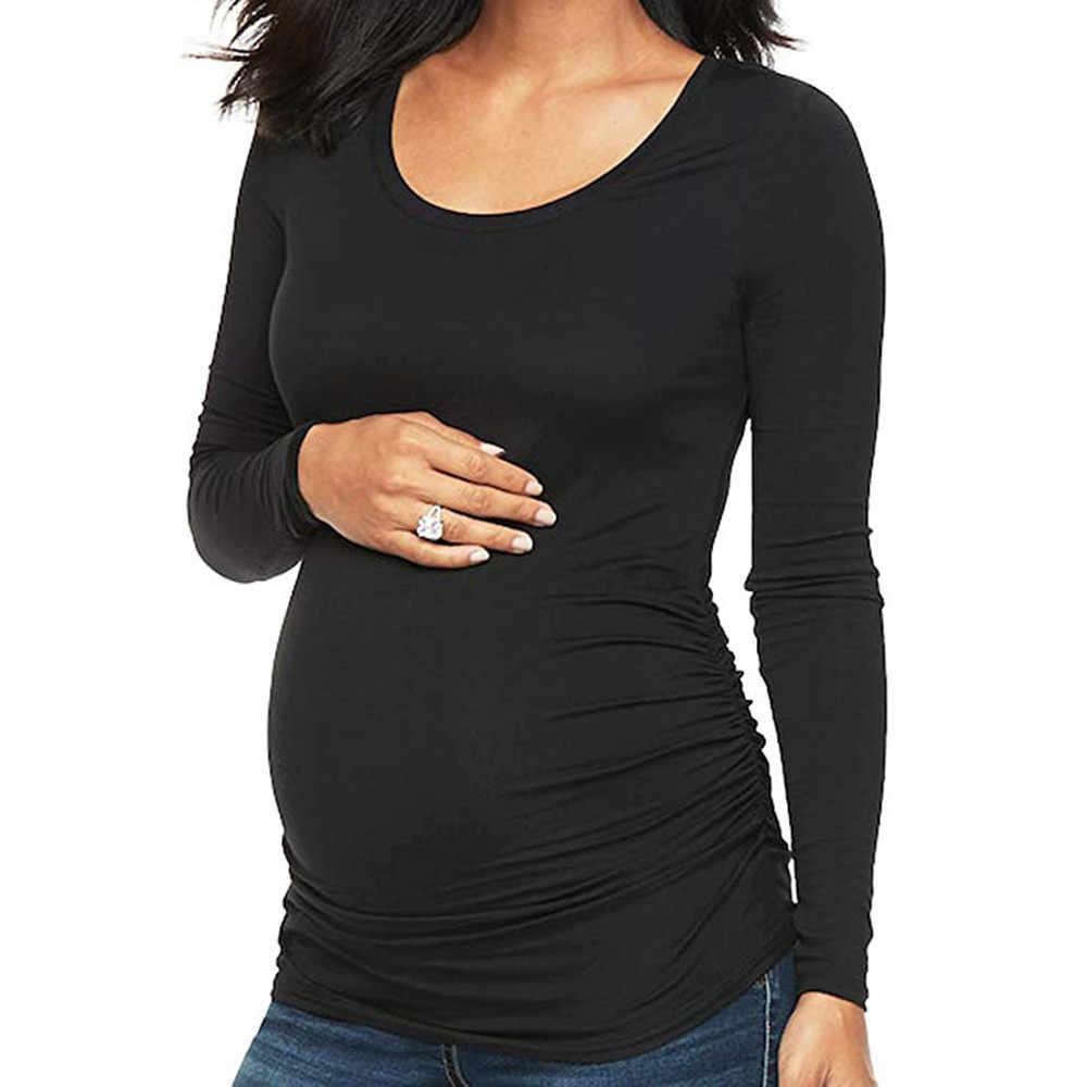 d4d3109e7d3a2 TELOYUNY pregnant women maternity blouse top Tees lactation gown Shirt Long  Sleeve Round Neck Top Flattering