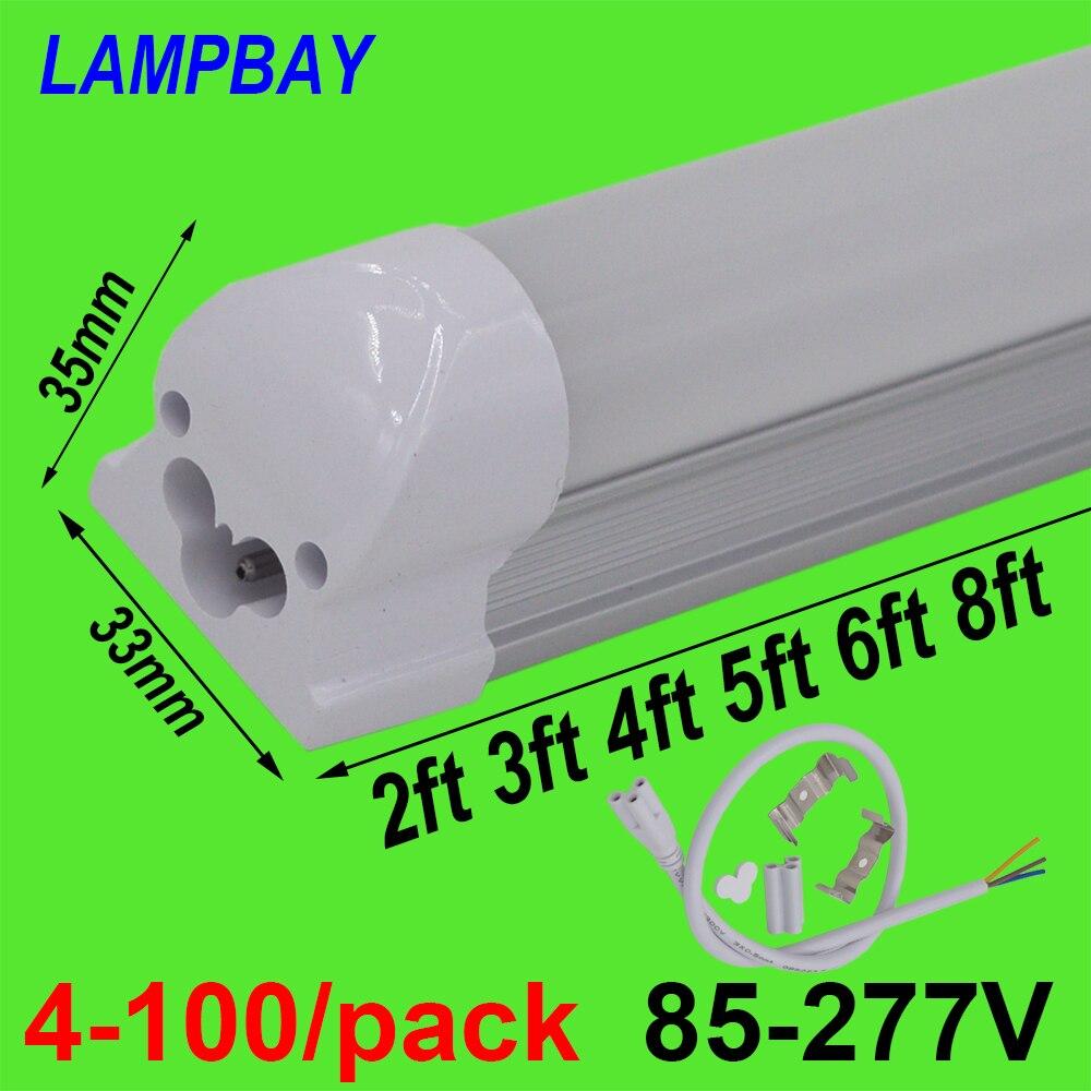 4-100/pak LED Tube lumière 2ft 3ft 4ft 5ft 6ft 8ft T8 luminaire intégré lampe monté en Surface ampoule fluorescente éclairage 85-277 V