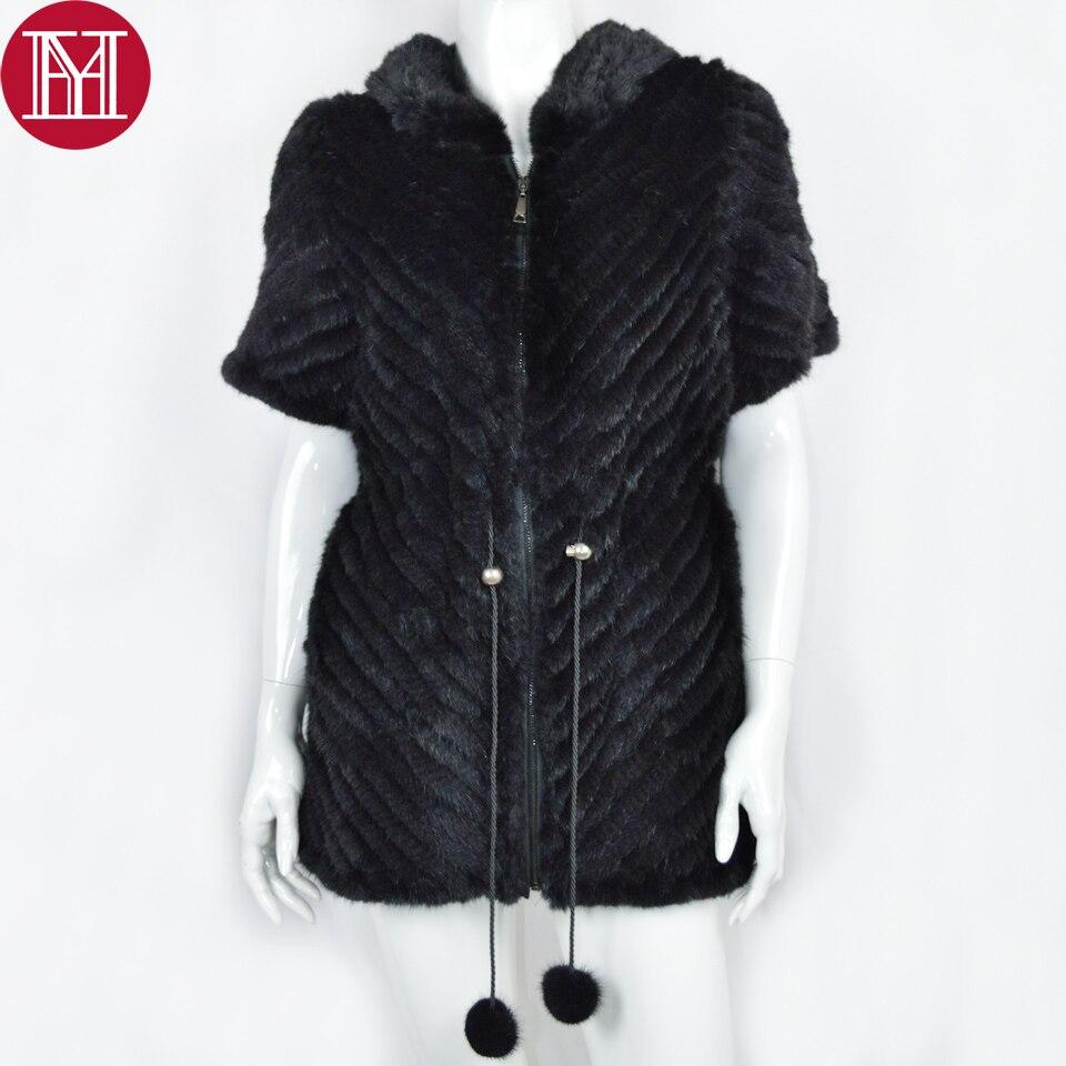 Noir Véritable Femelle Fourrure manches 100 Outwear Naturel Black De Mode Femmes Manteau Chaud Tricoté Réel 2017 Veste D'hiver Vison Demi PgSq0