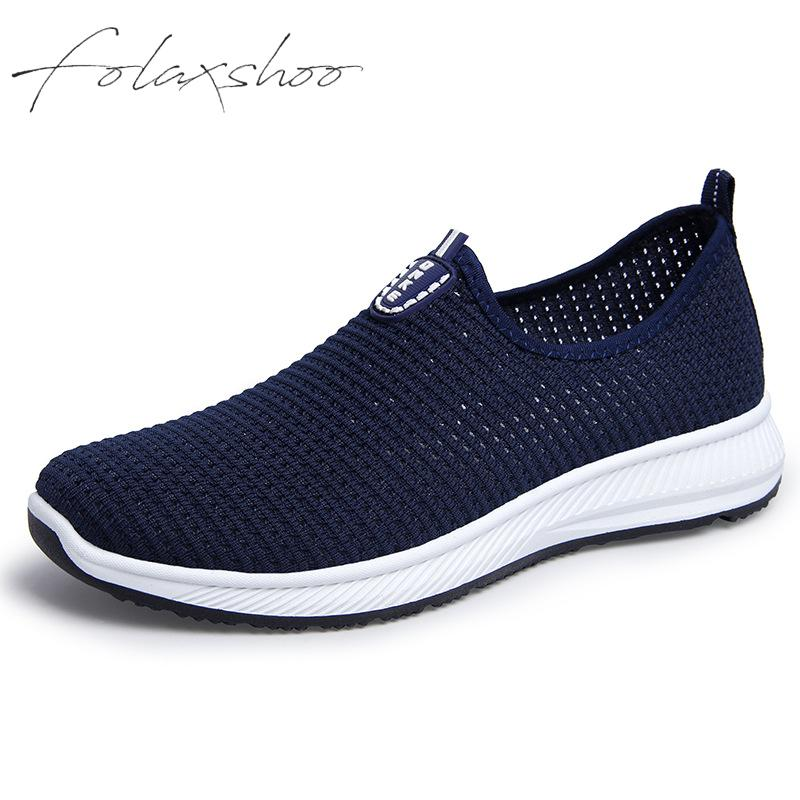Folaxshoo Fitness Shoes Men Casual Shoes Summer Mesh Super Light Flats Shoes Foot Wrapping Breathable Soft Lazy Boat