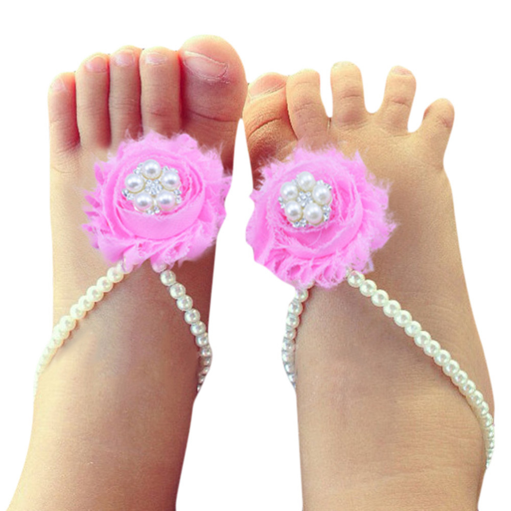 1Pair Pearl Chiffon Baby Barefoot Shoes Toddler Foot ...