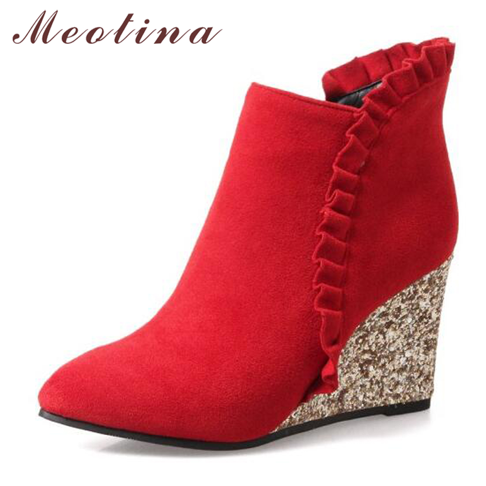 5be13331202 Meotina Women Ankle Boots High Heel Boots Winter Ruffles Wedges Bling Heels  Zipper Pointed Toe Ladies Autumn Shoes Brown Pink