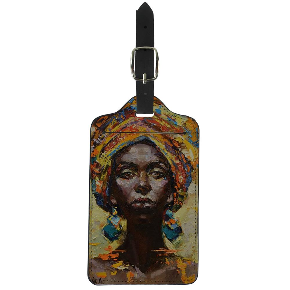 Thikin Oil African Girl Luggage Tag Women Travel Accessories PU Suitcase ID Address Holder Baggage Boarding Tag Portable Label