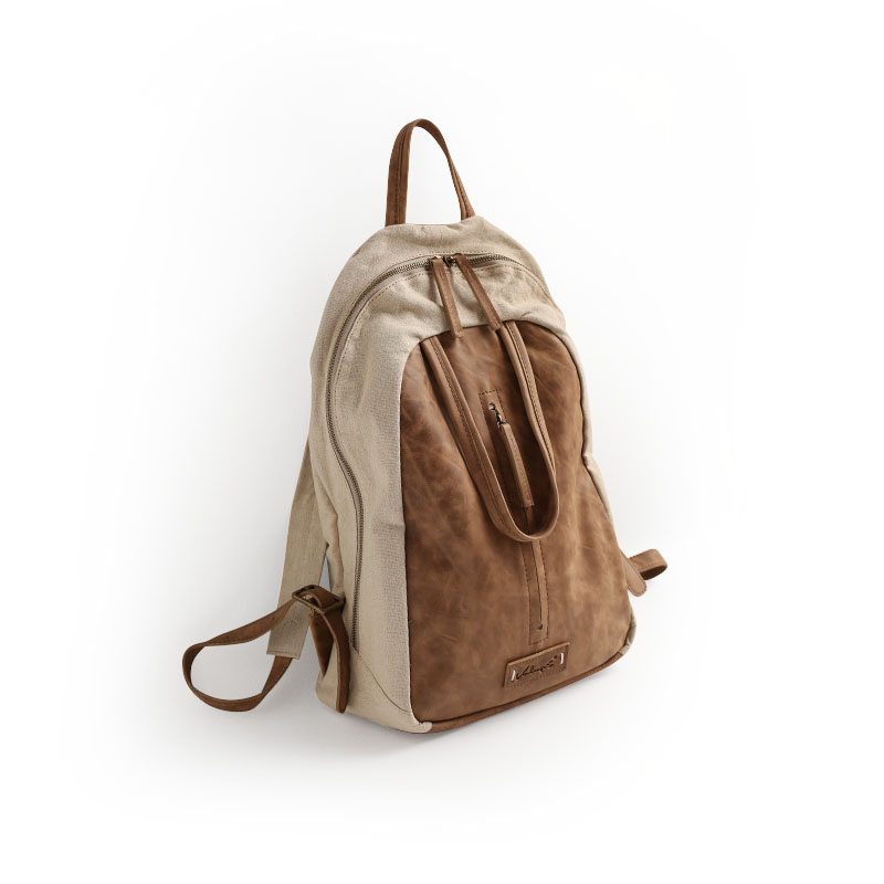 ФОТО Vendange New fashion casual Japan and Korean Style , Linen and vintage geniune cowleather backpacks 2348