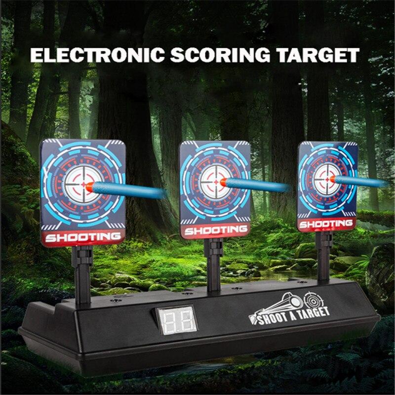 Divertido DIY de alta precisión de puntuación Reset Auto eléctrico objetivo pistola Nerf accesorios juguetes para divertirse al aire libre deportes piezas de juguete TSLM1