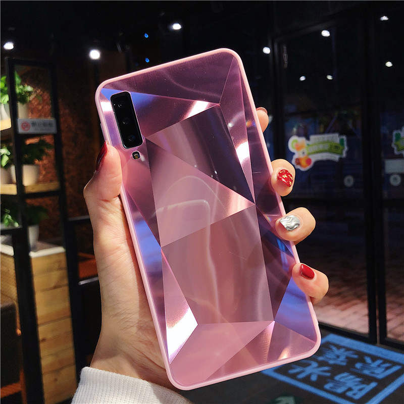 Luxury Diamond Texture case For Samsung Galaxy A9 A750 2018 A5 2017 Cover Thin Mirror Pattern For Samsung A6 A8 Plus Phone Case image